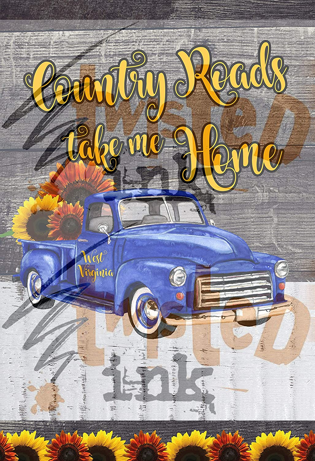 Country Roads Take Me Home, Garden Flag Template, WV, West Virginia, Take Me Home, Country Roads, Morgantown, Mountaineers, WVU, PNG File