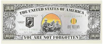 Set Of 10 Bills Pow Memorial Million Dollar Bill