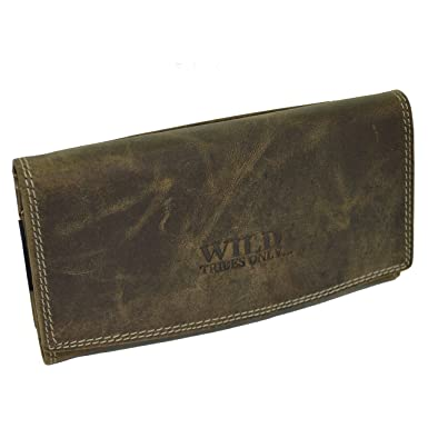 b8bfd20c4509e flevado Große schmale Wildleder Damen Geldbörse Brieftasche Unisex  Geldbeutel mit viel Stauraum in braun 400