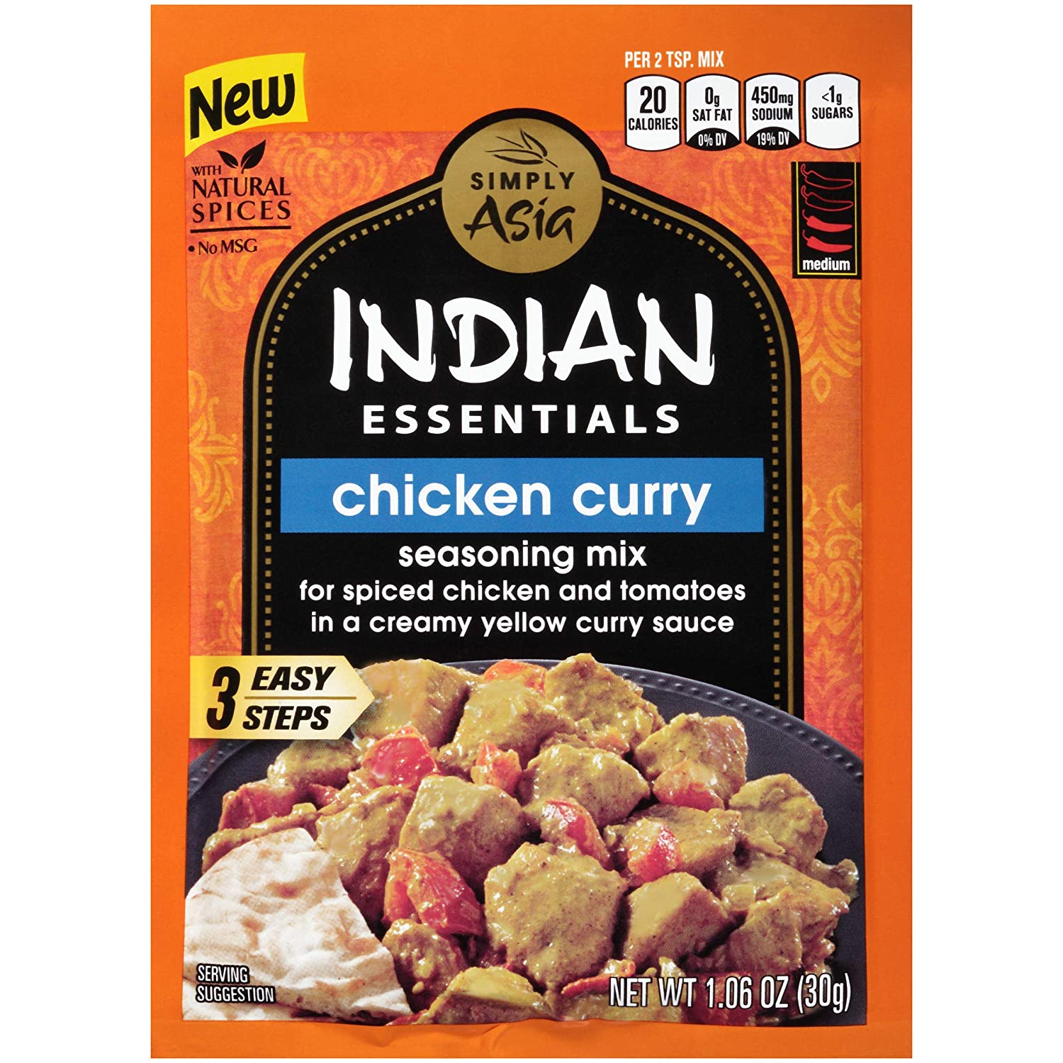 Simply Asia Indian Essentials Chicken Curry Seasoning Mix, 1.06 oz/pack(Pack of 12)