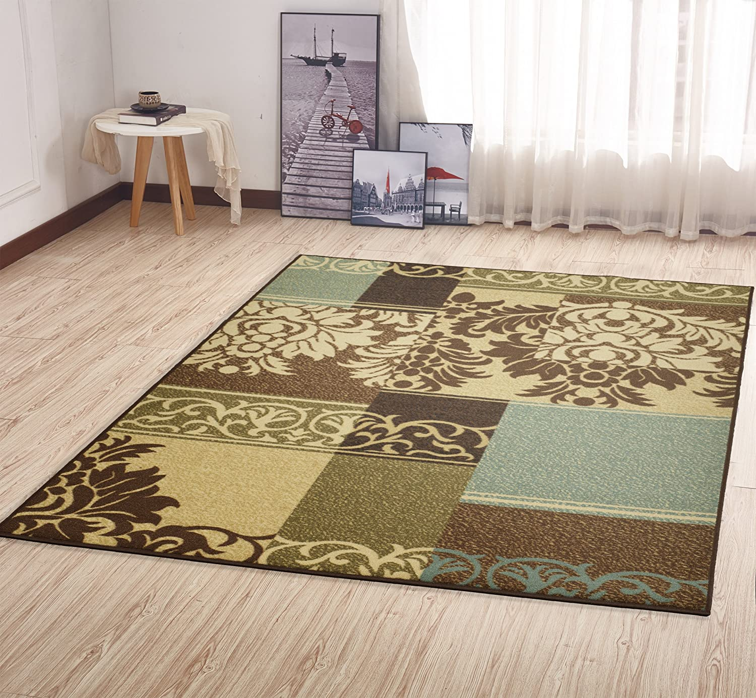 Brown 2/'7 X 9/'10/'/' OTH2292-3X10 27 X 910 Ottomanson Ottohome Collection Contemporary Damask Design Non-Skid Rubber Backing Hallway Runner Rug
