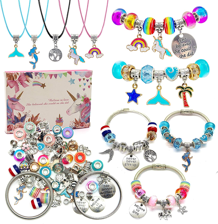 Charm Bracelet Making Kit,Jewelry Making Supplies Beads,Unicorn/Mermaid Crafts Gifts Set for Girls Teens Age 8-12