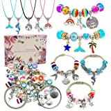 Charm Bracelet Making Kit,Jewelry Making Supplies Beads,Unicorn/Mermaid Crafts Gifts Set for Girls Teens Age 8-12