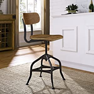 Modway Mark Rustic Modern Farmhouse Steel Metal Wood Adjustable Kitchen and Dining Room Chair in Brown