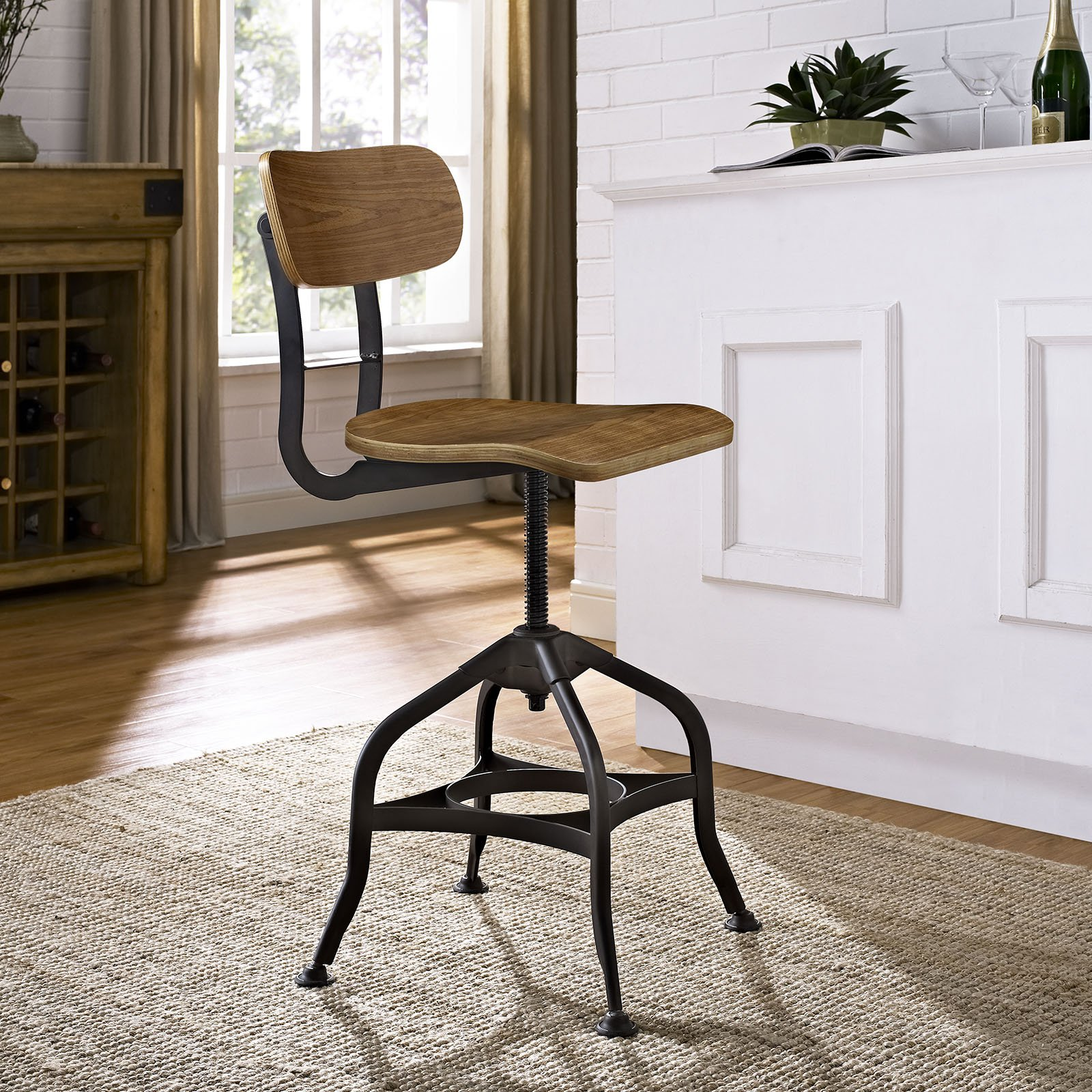 Modway Mark Industrial Dining Stool, Brown by Modway (Image #4)
