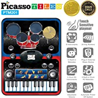 PicassoTiles PTM201 Portable 2-in-1 Drum & Piano Combo Educational Musical Play Mat w/ 8 Musical Instruments, 5pcs Drum Set, 10 Demos, 24-Key Keyboard, Built-in Speaker, Record for Toddlers & Kids