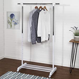 Honey-Can-Do GAR-03265 Adjustable Expandable Garment Rack with Locking Wheels, 34 to 53-Inches,White/Chrome