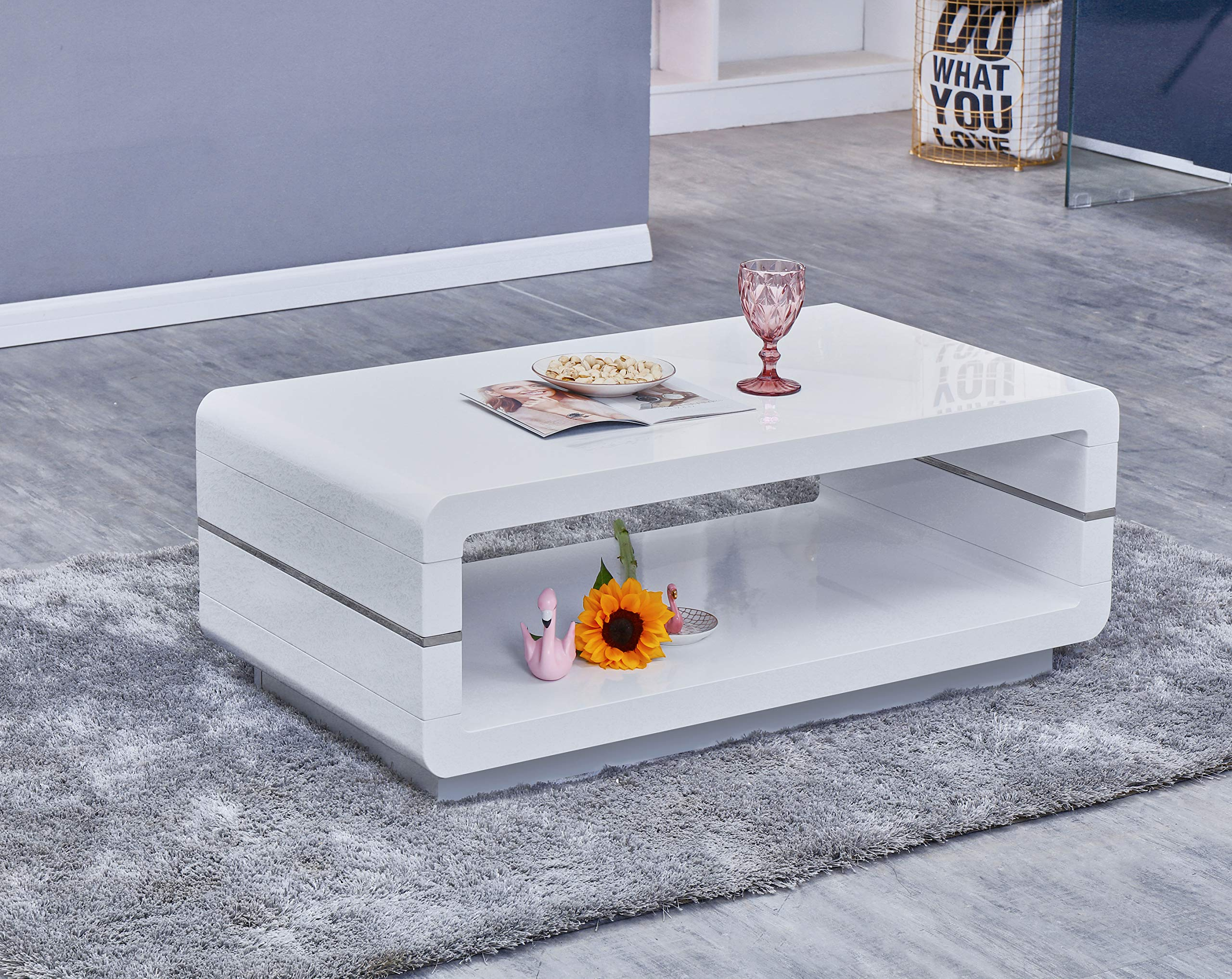 Best Quality Furniture CT41 Glass Top Coffee Table, White by Best Quality