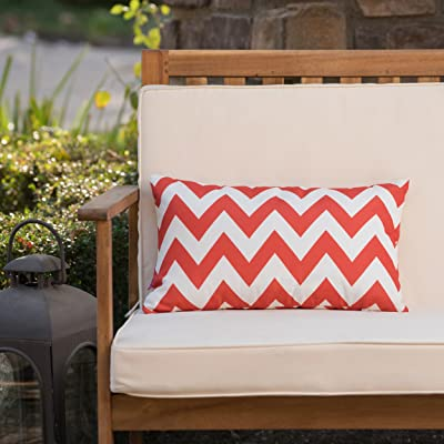 Christopher Knight Home Jerry Outdoor Orange and White Chevron Water Resistant Rectangular Throw Pillow : Garden & Outdoor