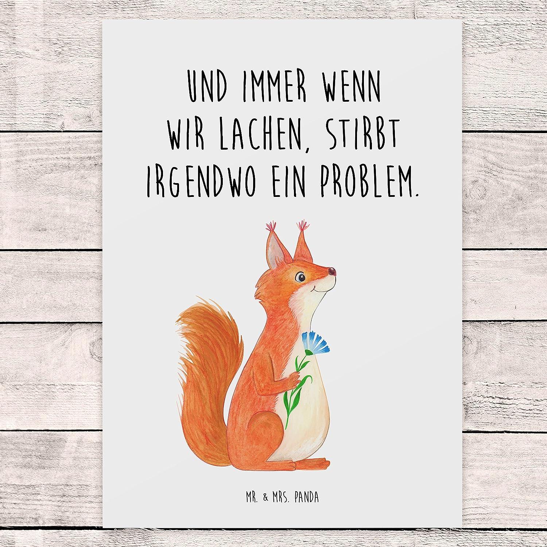 Panda Geschenkkarte Postkarte Eichh/örnchen Blume mit Spruch Farbe Wei/ß Mr Gru/ßkarte /& Mrs
