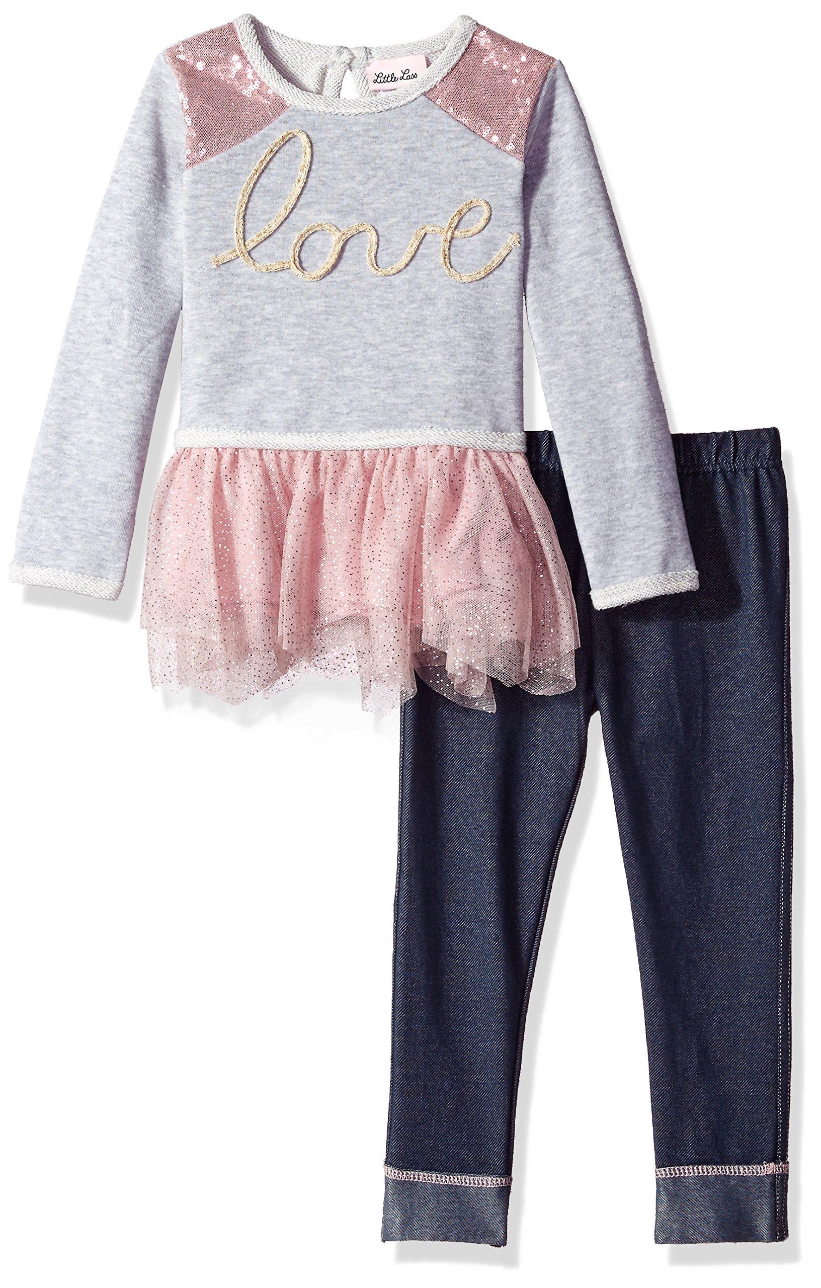 Little Lass Toddler Girls' 2 Pc Love Legging Set, Grey Heather, 4T