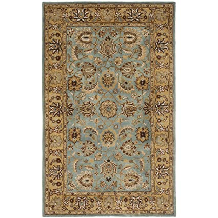 Safavieh Heritage Collection HG958A Handcrafted Traditional Oriental Blue And Gold Wool Area Rug 5 Roll Over Image To