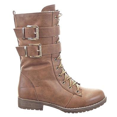 c7cce7469557 Sopily - Chaussure Mode Bottine Rangers mi-Mollet Femmes Boucle Fermeture  Zip Talon Bloc 3