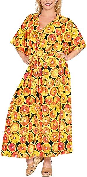 LA LEELA Likre Costumi da Bagno Spiaggia Caftano Notte Pigiameria Kimono  più Il Vestito Caftano Arancione 0e7d5b248400