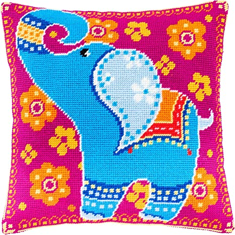 Needlepoint Kit Leopard Printed Tapestry Canvas European Quality Throw Pillow 16/×16 Inches