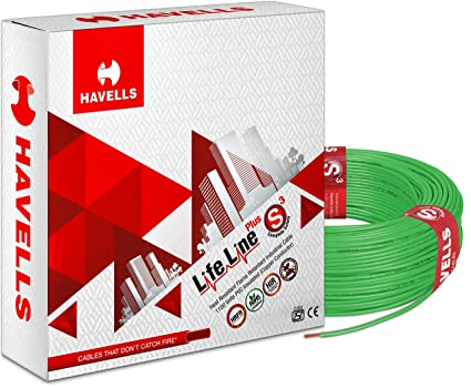 Havells Life Line Plus S3 0.5 sq mm PVC HRFR Cable (Green)
