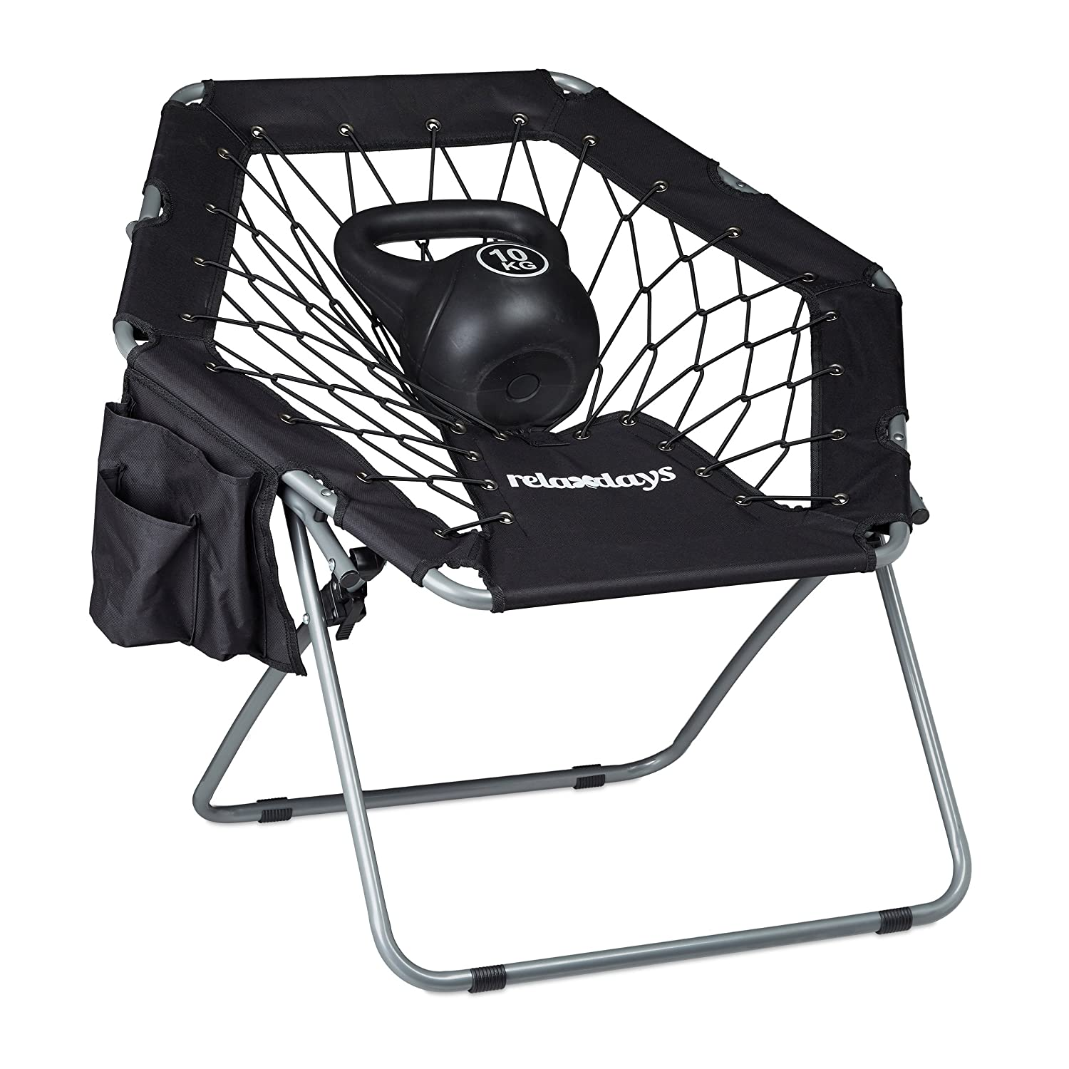 Relaxdays Webster Bungee Chair Elastic Spring System Foldable