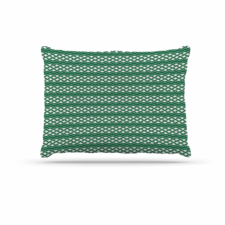 KESS InHouse Kess Original CelticTexture Green White Dog Bed, 30  x 40