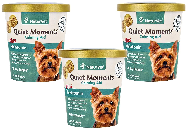 NaturVet (3 Pack) Quiet Moments Calming Aid Plus Melatonin Soft Chews for Dogs 70-Count Each