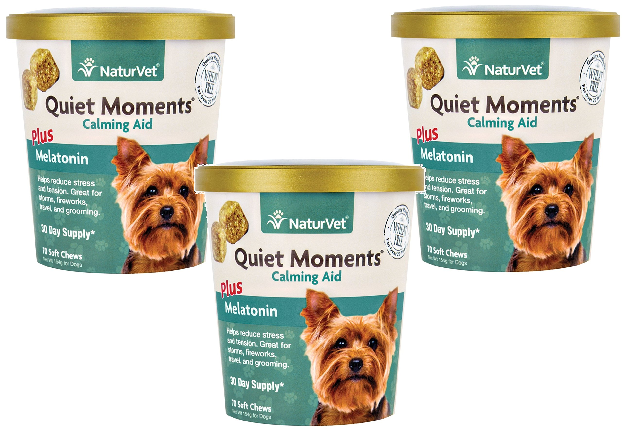 (3 Pack) NaturVet Quiet Moments Calming Aid Plus Melatonin Soft Chews for Dogs