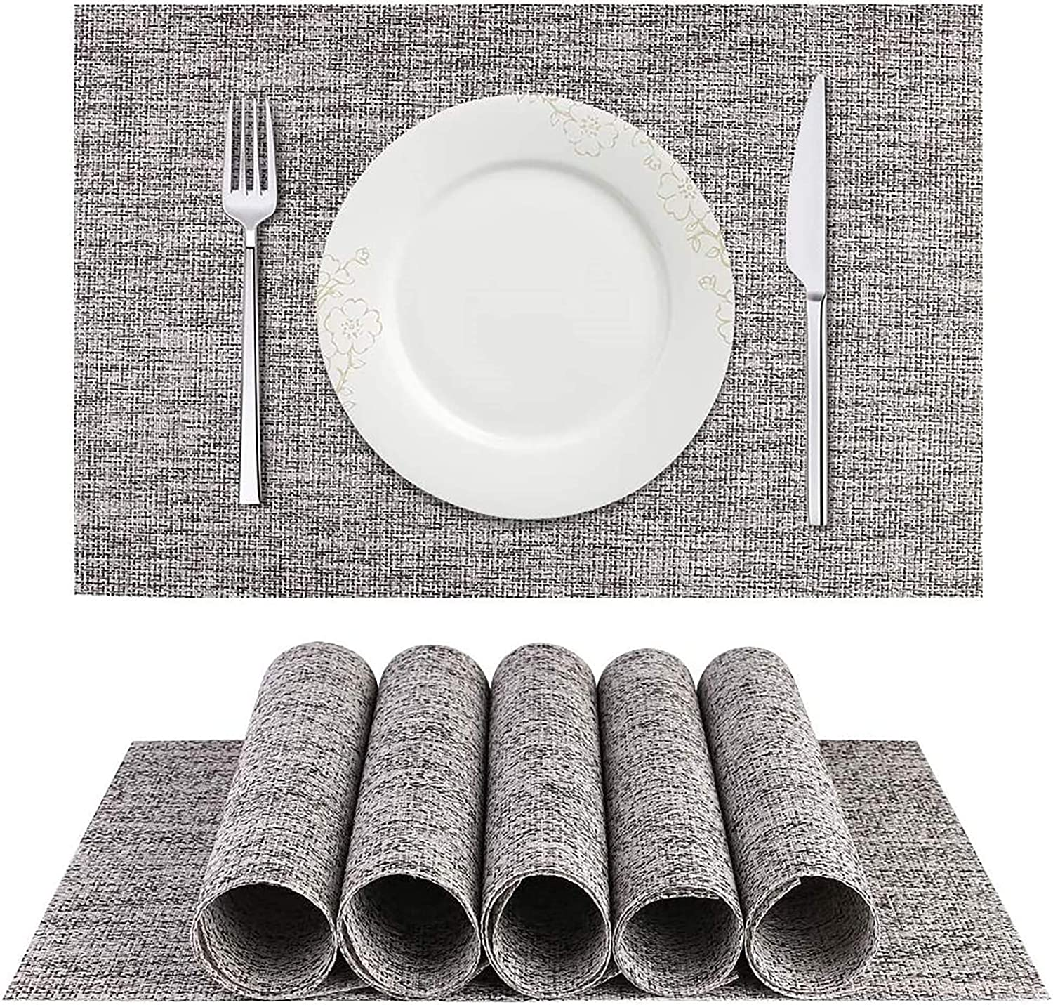 MVYECOR Placemats, Durable Stain Resistant mats for Kitchen Table Non-Slip Washable PVC Table Mats Woven Vinyl Placemats Set of 6(Smoky Grey )