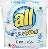all Mighty Pacs Laundry Detergent, Free Clear for Sensitive Skin, Unscented, Pouch, 72 Count