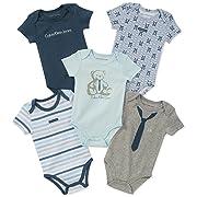 Calvin Klein Baby Boys 5 Pack Bodysuits, Blue/Gray, 3-6 Months