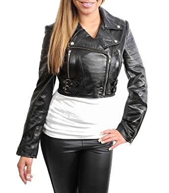 Ladies Cropped Short Length Leather Jacket Slim Fit Biker ...