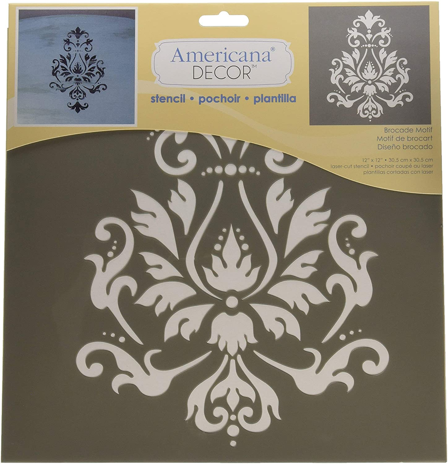 DecoArt Deco Art ADS-01 Americana Decor Stencil, Brocade Motif, 1
