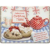 Fabulous Cream Teas Metal Sign Nostalgic Vintage Retro Advertising Enamel Wall Plaque 200mm x 150mm