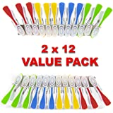 HangOuts Clothespins - Wide large plastic laundry clips pegs (2x12 value pack)