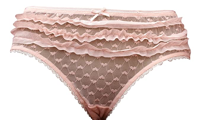 Sexy Frilly Burlesque Knickers Briefs - Peach Pale Pink S M L XL Sheer Mesh  (8- 1c01d218c