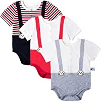 COTTON FAIRY Baby Boys 3-Pack Cute Bodysuits Stripe Rompers Onesies Clothes