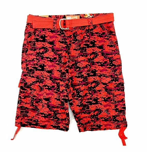 Mens Royal Blue Red Digital Camo Cargo Shorts (34)  a579032ac694