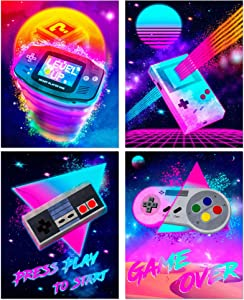 Retro Video Game Posters - Arcade Gaming Wall Art - Set of 4 Unframed (8x10 inches) 80's Console Gamer Themed Decor Prints - For Boys Bedroom Decorations, Gifts, and Birthday Party - Syncwave