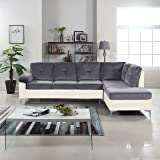 Modern 2 Tone Tufted Brush Microfiber / Faux Leather Sectional Sofa, Large L-Shape Couch (Dark Grey / White)
