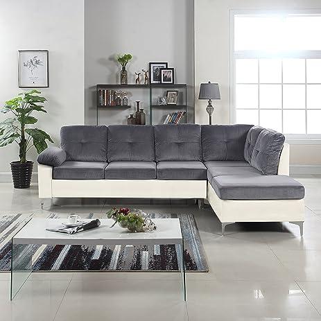 Modern 2 Tone Tufted Brush Microfiber / Faux Leather Sectional Sofa, Large  L Shape