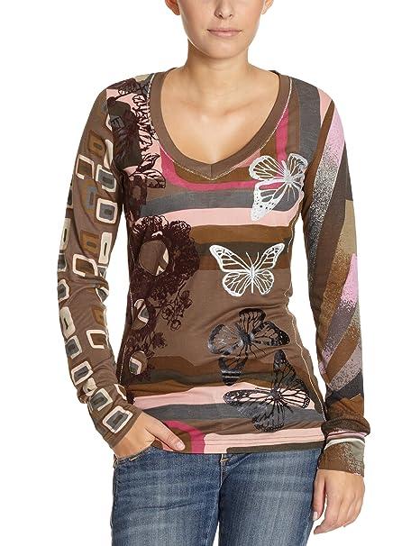 moda caliente rebajas(mk) como encontrar Desigual Mujer Camiseta/Manga Larga 17t2661 Braun (6009) 44 ...