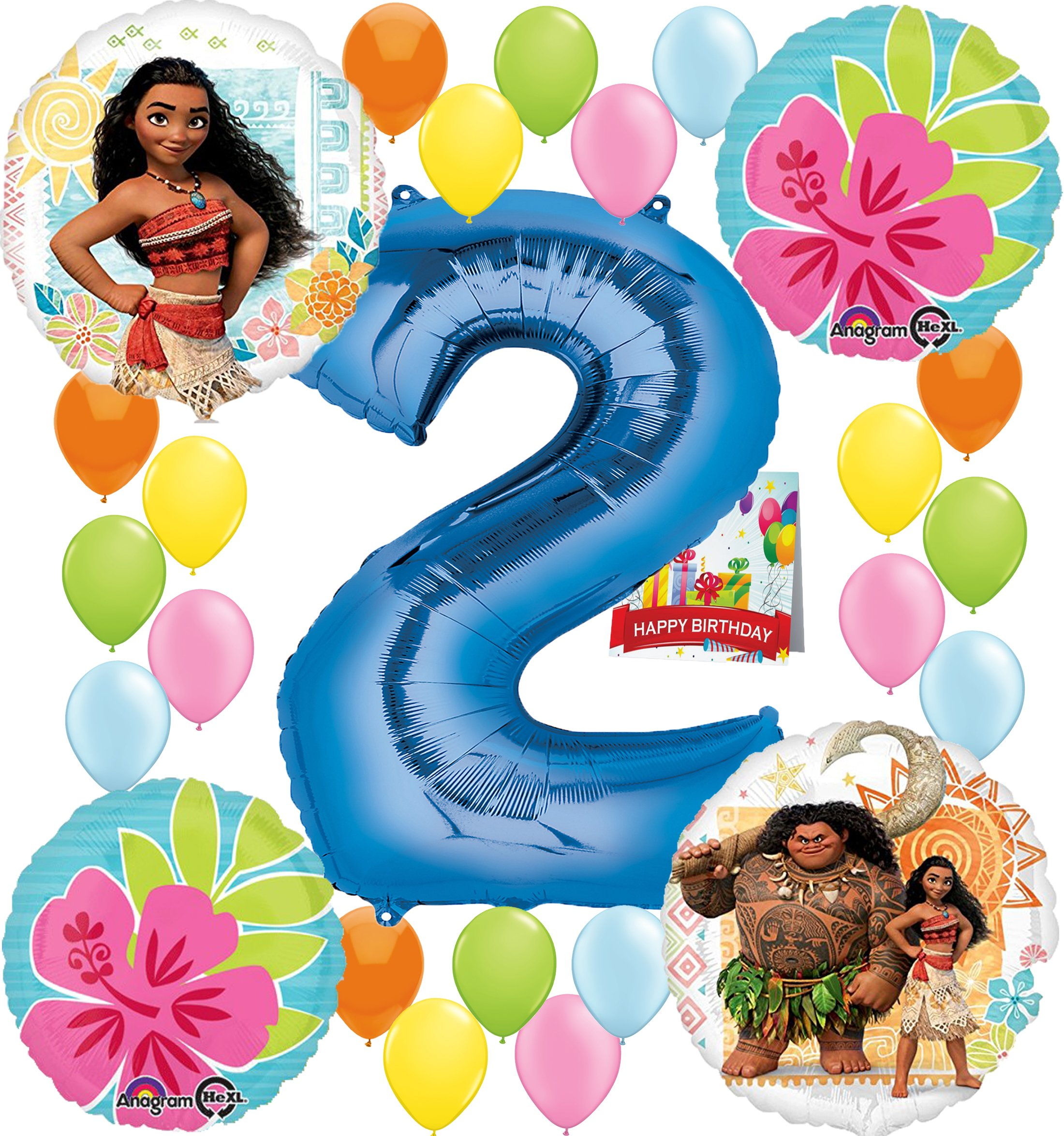Moana Party Supplies Birthday Decorations Number Balloon Bundle for (2nd Birthday)
