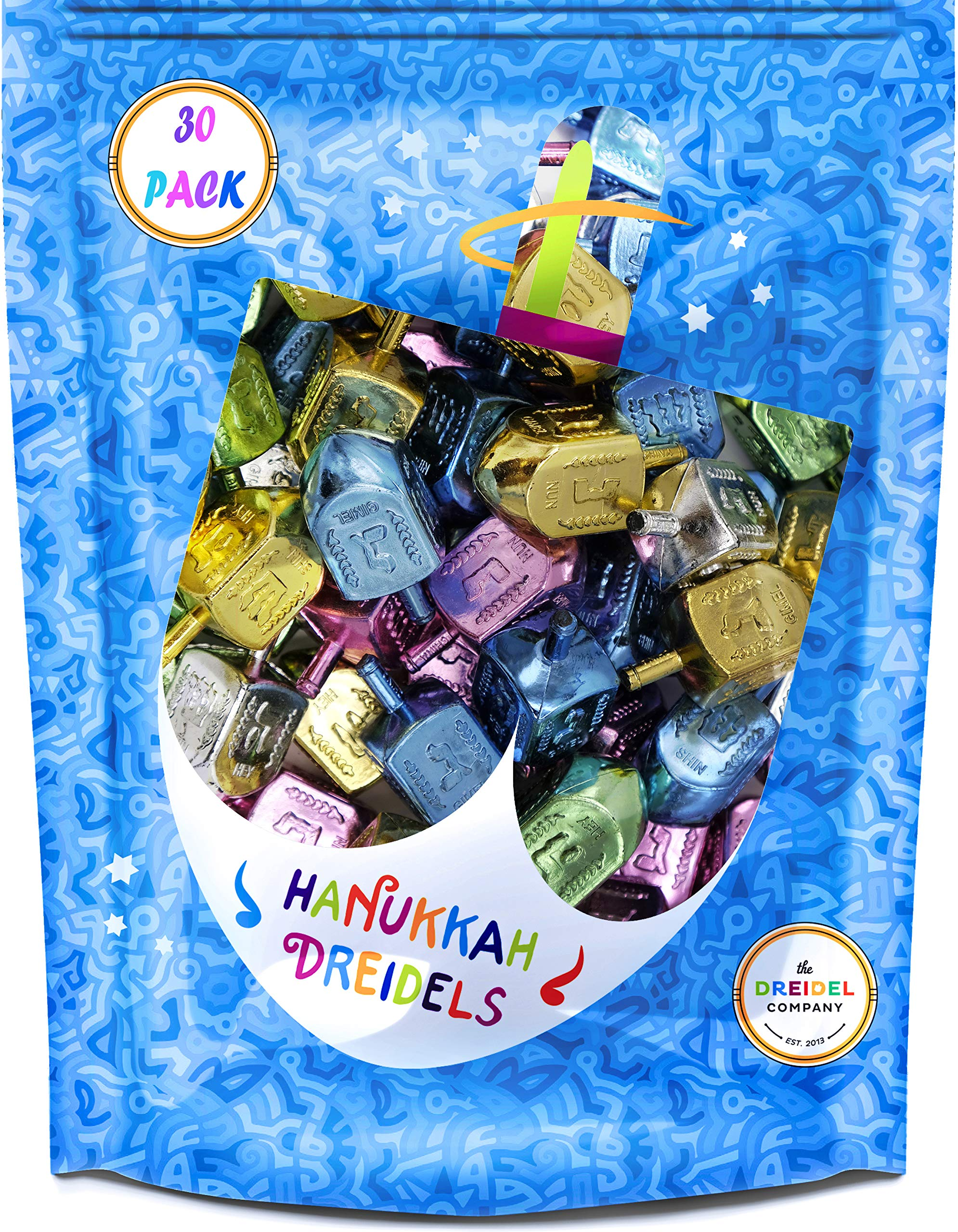 Hanukkah Dreidels Metallic Multi-Colored Draydels with English Translation - Includes 3 Dreidel Game Instruction Cards (30-Pack) by The Dreidel Company (Image #2)