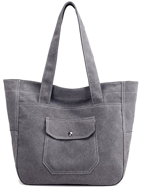 e67ccb79d Amazon.com: Canvas Shoulder Bag Casual Big Shoppingbags Tote Handbag Work  Bag Travel Bags for Women Girls Ladies (Grey): Clothing