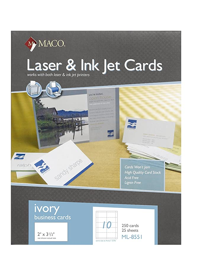 Amazon.com : MACO Laser/Ink Jet Ivory Business Cards, 2 x 3-1/2 ...