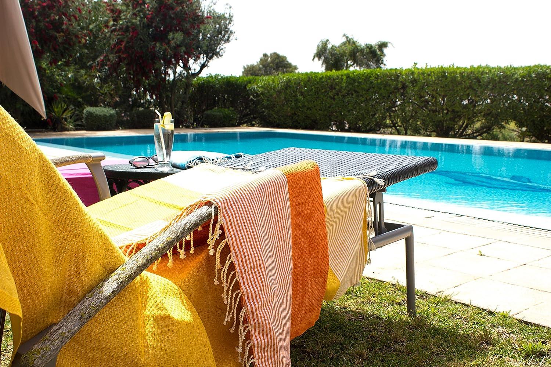 ZusenZomer Fouta Abeille de toalla de sauna Pest veces peshte veces XXL Extra Grande 197 x 100 cm - 100% algodón de Túnez como paño de playa, para baño, ...