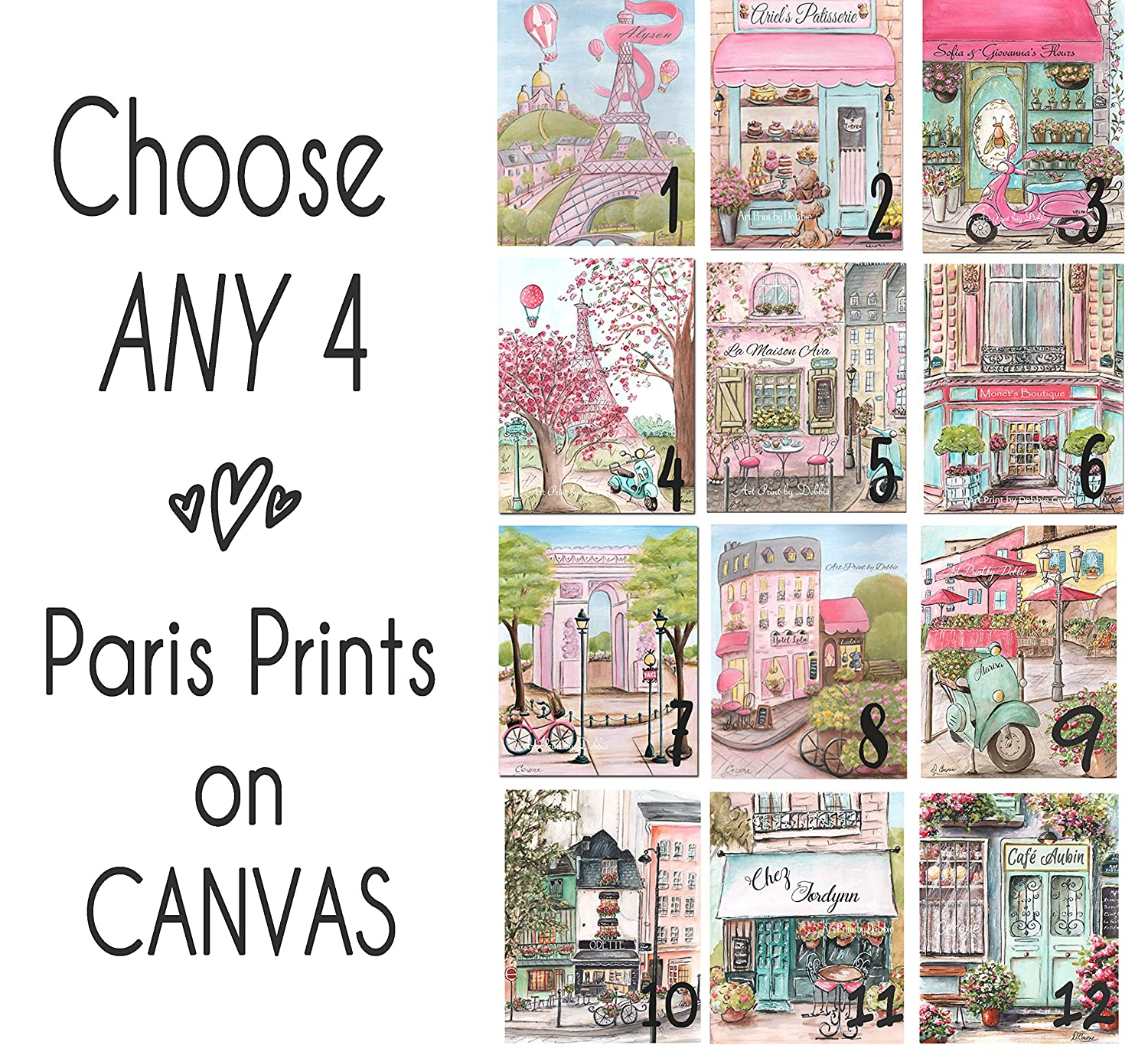 Image of Personalized Pink Paris Canvas Wall Art, Choose Any 4 Watercolor Prints, Girls Travel Theme Canvases With Custom Name & Font Choice, 8x10 to 24x36 Home and Kitchen