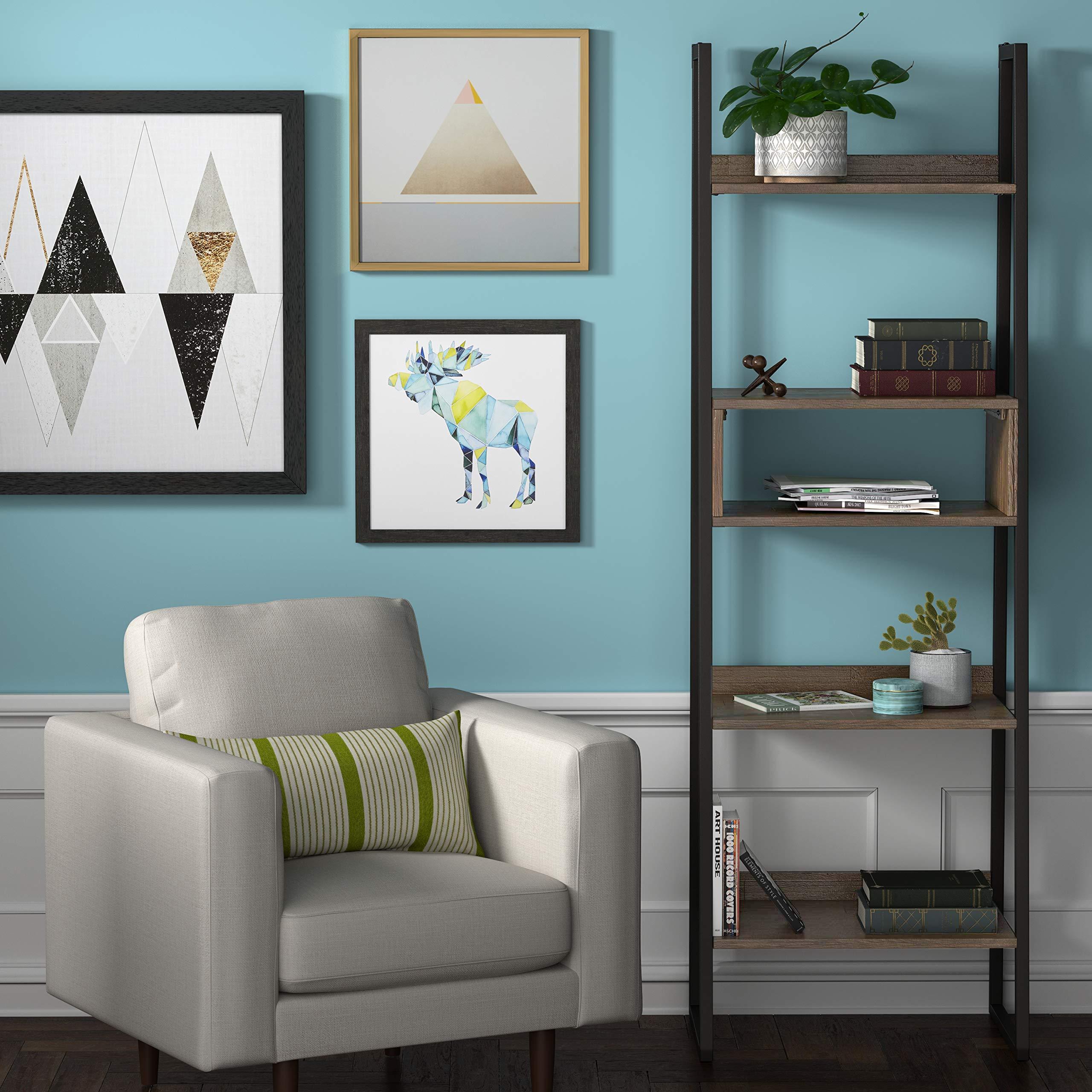Rivet Roxmere Modern Bookcase, 23.6''W, Acacia, Sandblast Gray by Rivet (Image #2)