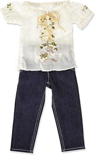 "Chic Jeans and Blouse Outfit for Carpatina Slim 18"" Dolls"