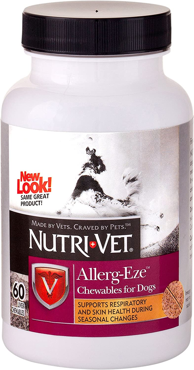 Nutri-Vet Allerg-Eze Supplement for Dogs| Formulated with Antioxidants & Omega-3 Acids|60 Chewable Tablets