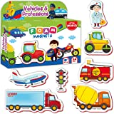 Little World Foam Fridge Magnets for Toddlers Age 1 - Refrigerator Magnets for Kids – Large Baby Magnets – 34 Magnetic Vehicl