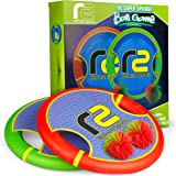 Bouncy Disc Paddle Ball Game & Frisbee: Kids Toss and Catch Balls Set Outdoor Games for Yard, Beach, Trampoline & Pool Toys For Boys and Girls ALL AGES. Play Outside Badminton & Launch Water Balloons