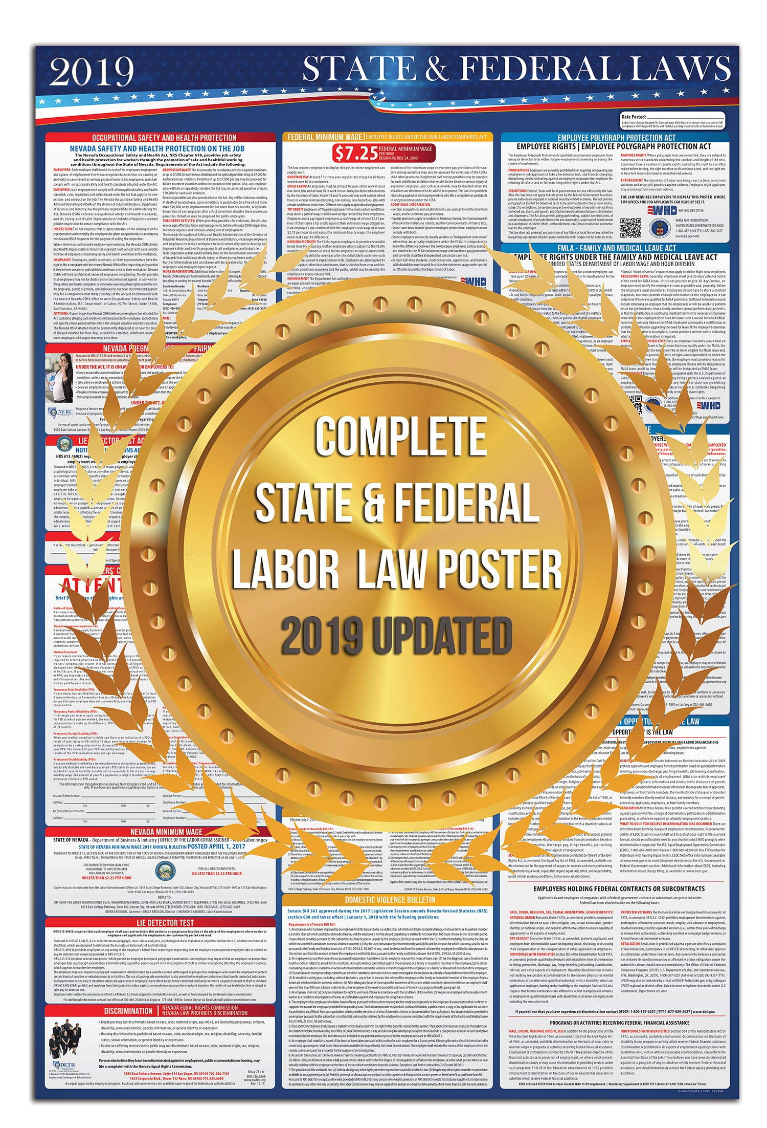 2019 Florida State and Federal Labor Laws Poster - OSHA Workplace Compliant 24'' x 36'' - All in One Required Posting - UV Coated by COMPLIANCE AUDIT CENTER (Image #2)